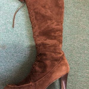 Brown suede high heels boots
